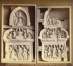 Two sculpture 'chapels' or niches, one representing Buddha meeting an ascetic (Gaya-Kashyapa?), from Jamal-Garhi. 1003991